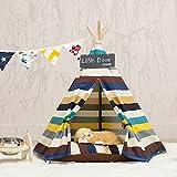 Miyare Spitze-Schlaf zelt für Hund katze Haustier 100%Baumwolle abnehmbar und waschbar (L, Streifen)