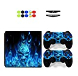 Skin for PS4 PRO, Chickwin Skin Vinyl Autocollant Sticker Decal pour Playstation 4 Pro console and 2 Dualshock Manette Set + 10pc Thumb Grips + 2pc Light Bar au hasard (Crâne Bleu Feu)
