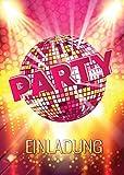 JuNa-Experten 12 Einladungskarten zum Geburtstag / Einladungen / Kindergeburtstag / Disco-Kugel / Pink / Disco-Party / Einladungen zum Geburtstag (12 Karten)