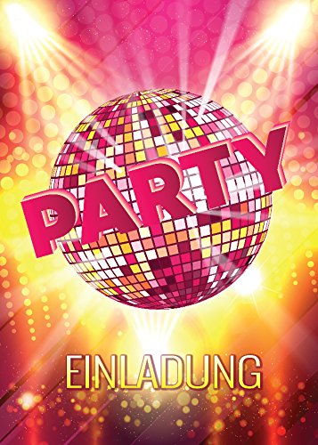 JuNa-Experten 12 Einladungskarten Geburtstag Einladungen Disco-Party Erwachsene Kinder Mädchen Jungen Kindergeburtstag Geburtstagseinladungen Kartenset Disco-Kugel