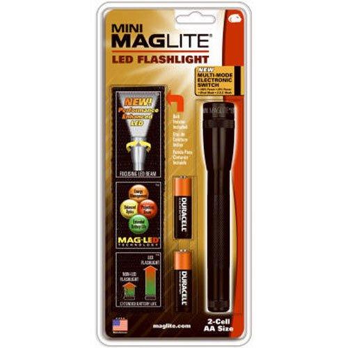 Mag-Lite Mini Maglite 2AA Hochleistungs-LED-Taschenlampe, 77 Lumen, 17 cm schwarz inkl. 2 Mignon-Batterien und Nylonholster, SP2201H