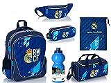 6-teiliges Schulranzenset Rucksack Schulranzen, Stiftetasche, Sporttasche, Turnsack, Bauchtasche, Trinkflasche Real Madrid Fanartikel