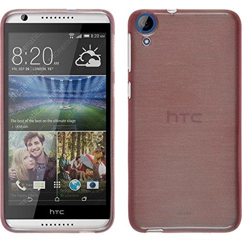 PhoneNatic Case für HTC Desire 820 Hülle Silikon rosa brushed Cover Desire 820 Tasche + 2 Schutzfolien