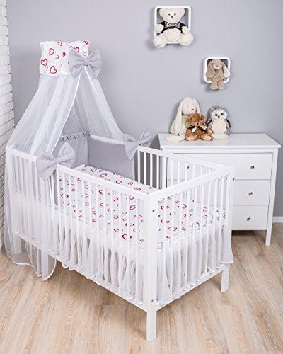 Amilian® Baby Bettwäsche 7tlg Bettset mit Nestchen Kinderbettwäsche Himmel 100x135cm Herzen Rot/Grau (Chiffonhimmel) (Rote Baby-bettwäsche)