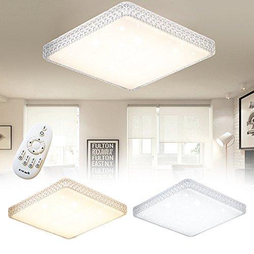 48W Dimmbar LED Deckenlampe Eckig Sternenlicht Deckenleuchte Kreative Energiesparlampe für Flur Wohnzimmer Schlafzimmer Küche Büro (48W Eckig Dimmbar)