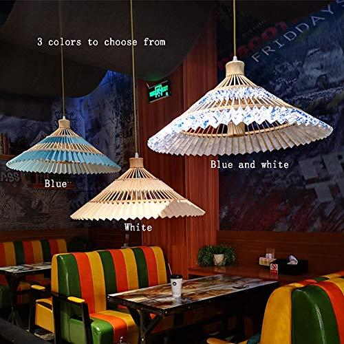 mpenschirm Kronleuchter Deckenleuchte, LED Massivholz Material Chinesischen Stil Regenschirm Form für Restaurant (D60cm * H26CM)-blue ()