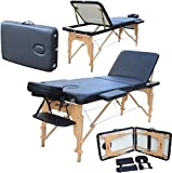 H-ROOT 3 Section léger Massage portative Table canapé lit socle thérapie Tatoo Salon Reiki guérison Massage suédois 13,5 KG (noir)