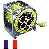 Rallonge électrique sur enrouleur avec 4 prises et disjoncteur 15m
