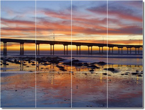 PUESTAS DE SOL FOTO BALDOSA CERAMICA MURAL 27  36X 48CM CON (12) 12X 12AZULEJOS DE CERAMICA