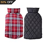 AIYUE® Hundemantel Hundejacke Doppelseitig Reversible Plaid Hundebekleidung Warm Hunde Winterjacke Windproof Britischen Stil Weihnachten Pet Dog Coat Wasserdicht Wintermante