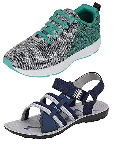 Chevit Men's Combo Pack of 2 Sandal & Sports Shoes (Running Shoes & Floaters) CB-441+601-10