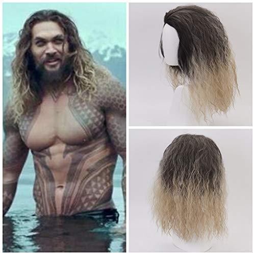 Ani·Lnc Película Liga de la justicia Aquaman peluca Aquaman Juego de rol Poseidón Cabello Cómico Cosplay Pelucas 2