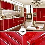 ALIKEEY 100 * 40cm❤️13 Kind Color Shiny Meubles Remis à Neuf Autocollants Pvc Amovible Papier Peint Décor À La Maison de peinture Chambre Rénovation de salle de bain wall Stickers Muraux (rouge)