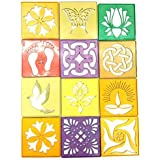 Vardhman Plastic Rangoli Stencil, 4x4 Inches (Multicolour) - Pack of 12