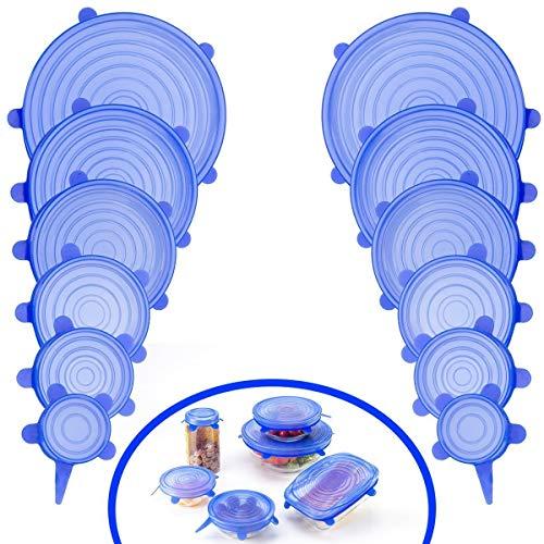 Sinwind Couvercle Silicone Alimentaire Extensible, 12 Paquets de Couvercle Extensible en Silicone, Flexible, réutilisable, couvercles de Stockage de Nourriture Couvertures Extensibles d'épargnant