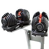 Sporteq réglable Haltères 24kg, 40kg de poids au choix Gym Fitness entraînement, Homme, femme, noir, 1 x Dumbbells (single)