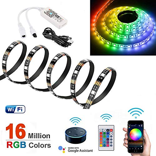 1m WiFi LED Streifen Lichter Arbeit mit Amazon Alexa/Google Home, Smart W-lan RGB LED Strip Lichtleiste SMD5050 Band Beleuchtung mit IR Fernbedienung und APP Kontroller für iOS Android