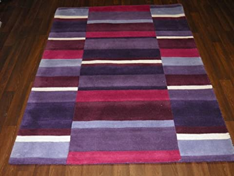Jazz Indian Hand Tufted Textured 100% Wool Rug 120cm x 170cm Approx 6x4 Purple Blocks