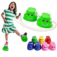 Monbedos Child Thickened Plastic Smile Stilts Balance Trainers Toys Outdoor Games Walking Jumping Stilts (random color)
