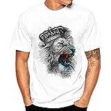HCFKJ T-Shirt Blusen Herren, Druck Tees Shirt Kurzarm T Shirt Bluse (M, WH)