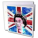 3DROSE GC 268392_ 56x 15,2cm'Regina Elisabetta d' Inghilterra ritratto della bandiera Regno Unito–Biglietto di auguri
