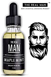 The Real Man Maple Mint Oil 100 Percent Organic Beard and Moustache Oil, 15ml