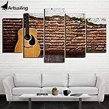 YIMENGSX Peinture imprimée de HD de Toile de Morceau 5 de Peinture de Guitare Classique modulaire Vintage deMur de Photos pour Le Salon CU-2492C, encadrée, Taille 2