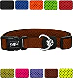 DDOXX Hundehalsband Air Mesh in vielen Farben & Größen für kleine & große Hunde | Halsband Hund Katze Welpe | Katzenhalsband klein | Hunde-Halsbänder breit Leuchtend | Braun, L