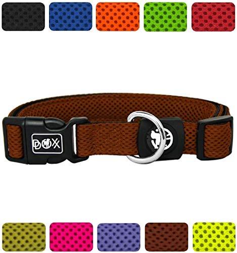 DDOXX Hundehalsband Air Mesh | für große & kleine Hunde | Katzenhalsband | Halsband | Halsbänder | Hundehalsbänder | Hund Katze Katzen Welpe Welpen | klein breit Leuchtend bunt | Braun, L