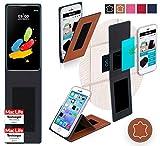 reboon Hülle für LG Stylus 2 (DAB+) Tasche Cover Case Bumper   Braun Leder   Testsieger