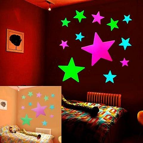 Modello Di Stella Adesivi Murali Autoadesivi Fluorescenti Per La Decorazione Domestica, Formato: 19,5 Centimetri X 14 Centimetri - Belle Cristallo Vasi