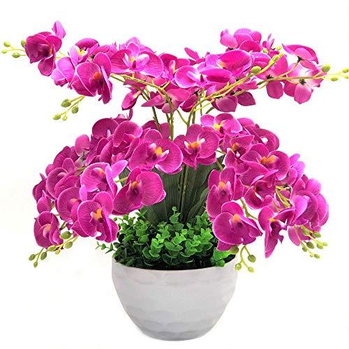 SISHUINIANHUA Farfalla Orchidea Fiori Decorativi e Ghirlanda di Fiori Artificiali Bonsai Set Fiori Finti Alberi con Vaso,d