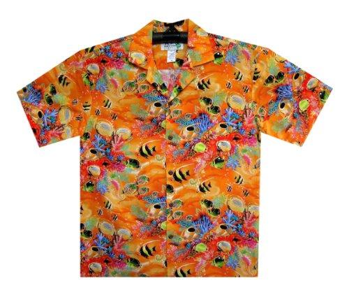 KY's -  Camicia Casual  - Collo a V  - Maniche a 3/4 - Uomo Arancione
