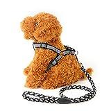 Baoffs Einstellbare Hundetrainingsleine Zugseil Nacht Reflektierende Hundeleine Polyester gewebt Brustgurt Runde Seil Hund Kette klein. für Training, Spielen, Gehen (Farbe : Schwarz)