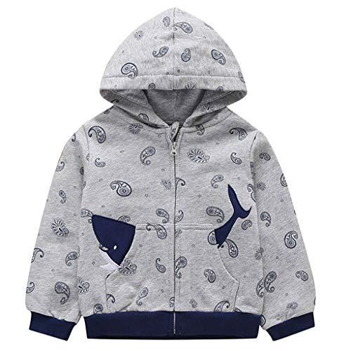 Cuteelf Kinder Frühling und Herbst Langarm Hoodie Cartoon Mode Zip Jacke Kleinkind Kind Junge Mädchen Kapuzenwal Tasche Design Winddichte Jacke