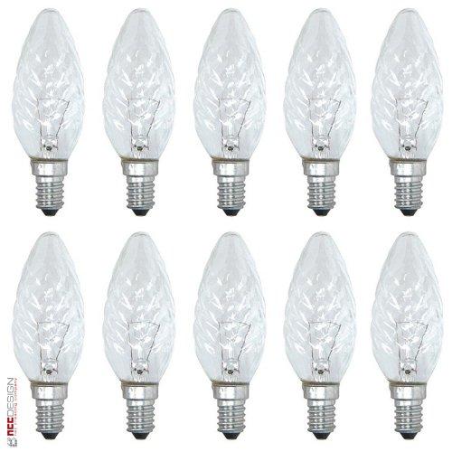 10 x Glühbirne Kerze gedreht 25W E14 KLAR Glühbirnen Glühlampen Glühlampe 25 Watt