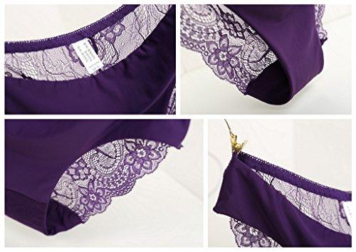 Bigood String Femme Coton Dentelle Culotte Sans Couture Lingerie Slip Sexy Transparente Violet
