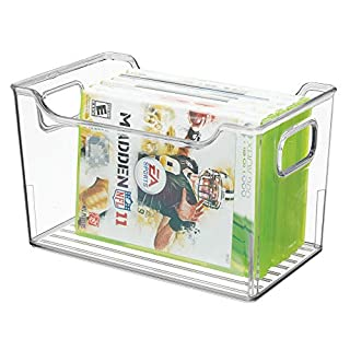 MetroDecor mDesign Household Storage Box – Plastic Container for Organising Items around the Home – Ideal Bedroom Storage for Video Games, DVDs, Toys and More – Clear