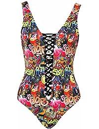Alicemall Bikini de una Pieza para Mujer Traje de Baño con Relleno Traje de Playa de Color Brillante Bañador de Playa con Red (XL)