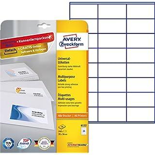 Avery Zweckform 6122 Labels 70 x 36 mm for Inkjet Laser Copy 10 Sheets White