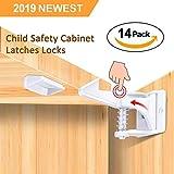 Kindersicherung Schrank (14er Pack) Babysicherung unsichtbare Schranksicherung für Schubladen und Schranktüren, Montage ohne Bohren und Schrauben
