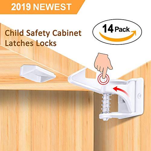 ank (14er Pack) Babysicherung unsichtbare Schranksicherung für Schubladen und Schranktüren, Montage ohne Bohren und Schrauben ()