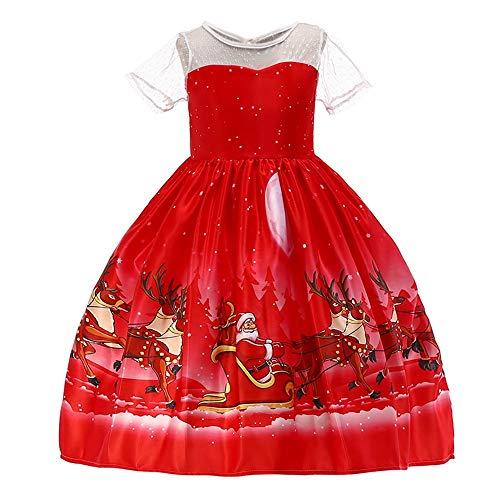 Huhu833 Baby Kleid, Kinder Weihnachten Kleid Kleinkind Baby Mädchen Santa Print Spitze Prinzessin Kleid Party Outfits Kleidung (Rot, 18-24Monate)