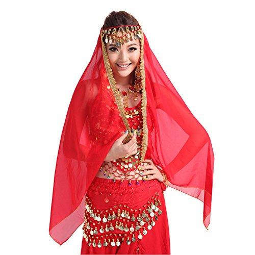 Loveble Danse du ventre Costume Lady en mousseline de soie d'or Garniture Veil Châle Visage Foulard Rouge