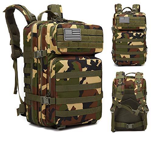 Rrock zaino da uomo outdoor, zaino mimetico in tela di grande capacità, adatto per campeggio, escursionismo, viaggi,junglecamouflage