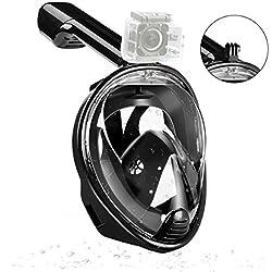 JINGOU Unisexe Masque de plongée Tuba Vision de 180° Full Face Gratuit Respiration Motif Brouillard et de la Technologie Anti-Fuite avec Support de caméra GoPro, Noir, L-XL