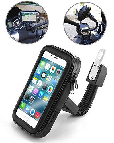 TecHERE BikeCase - Supporto Universale Impermeabile per Scooter Vespa Moto Motocicletta - Custodia Porta Telefono Cellulare Smartphone per Apple iPhone Samsung Galaxy Navigatore GPS - Nero (Grande)