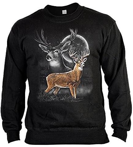 Pop Art Sweater ::: Deer Moonshine Wilderness ::: für Jäger mit US Motiv auf der Vorderseite