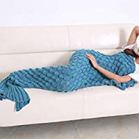 Manta hecha a mano de la cola de la sirena, bolso de dormir de la sirena del ganchillo para los adultos y los cabritos en todas las estaciones 190 cm * 90 cm (lago azul, 74.8 pulgadas * 35.4 pulgadas)
