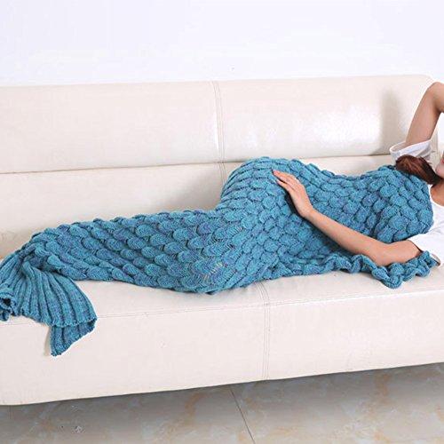 Meerjungfrau Decke Wolle fishtail auf der Couch Klimaanlage Geburtstagsgeschenk gestrickt (180 * 90)